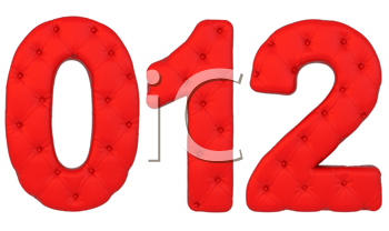 Royalty Free Clipart Image of Red Leather Numbers