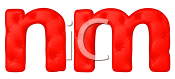 Royalty Free Clipart Image of a Red Leather Font N and M
