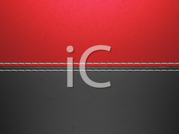 Royalty Free Clipart Image of a Red and Black Stitched Leather Background