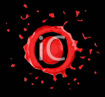 Royalty Free Clipart Image of the Letter O in Red Paint