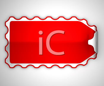 Royalty Free Clipart Image of a Red Bent Sticker