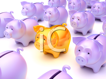 Royalty Free Clipart Image of Piggy Banks