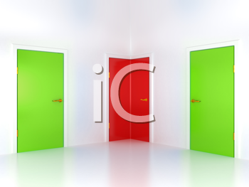 Royalty Free Clipart Image of Three Doors