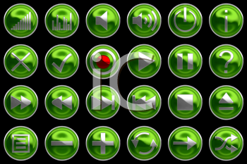 Royalty Free Clipart Image of Green Control Panel Buttons