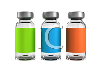 Royalty Free Clipart Image of Three Medical Ampules