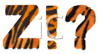 Royalty Free Clipart Image of Tiger Fell Font Z and Symbols