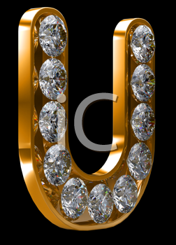 Royalty Free Clipart Image of a Golden Letter U Incrusted With Diamonds