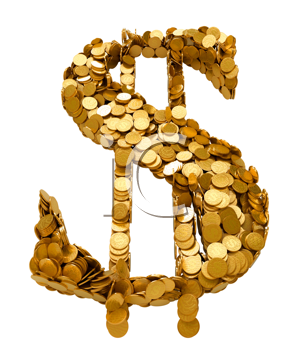 Royalty Free Clipart Image of a Dollar Sign Made of Coins