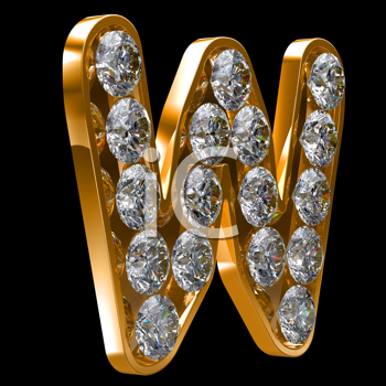 Royalty Free Clipart Image of a Golden Letter W Incrusted With Diamonds