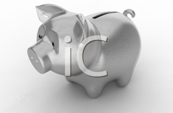Royalty Free Clipart Image of a Silver Piggy Bank