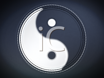 Royalty Free Clipart Image of  a Yin Yang Symbol on Leather