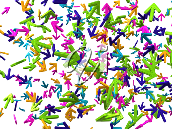 Chaos: colorful arrows with random direction isolated on white