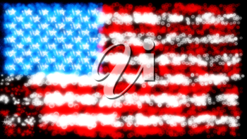 Holiday: glittering and sparkling USA flag over black
