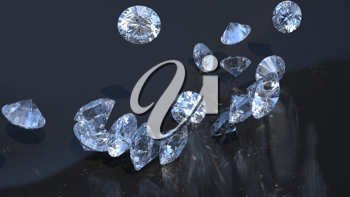 Jewels: large diamonds rolling over with reflection