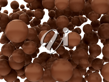 Large chocolate orbs or bubbles isolated over whtie background