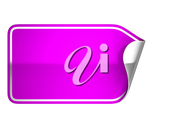 Magenta sticker or label over white background