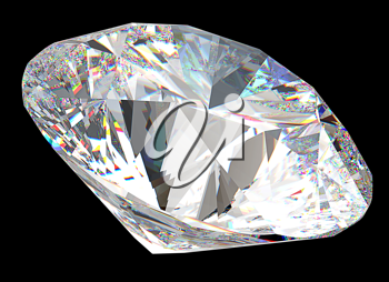 Round diamond: top side view isolated on black
