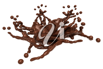Splash: Liquid chocolate shape with drops isolated over white