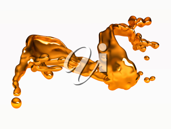 Splash of golden fluid with drops over white. Large resolution