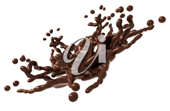 Splash: Liquid chocolate with drops isolated over white