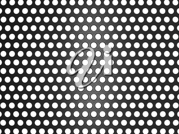 Black metal grill with holes isolated over white. Useful as background