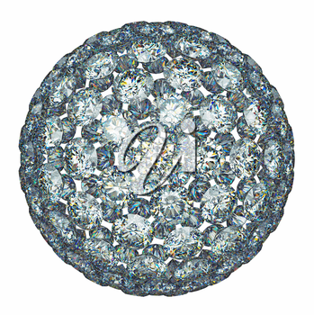 Diamonds or gemstones sphere isolated over white. Large resolution