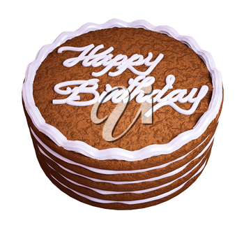 Happy birthday: sandwiched chocolate cake isolated over white