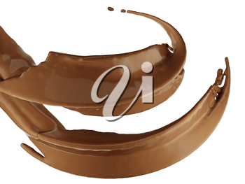 Hot drinks: chocolate or cocoa splash over white background