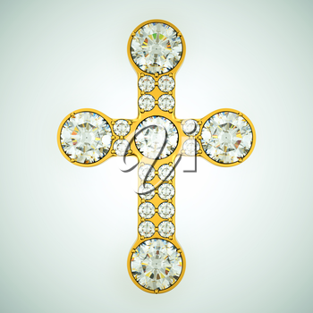 Religion and fashion: golden cross with diamonds. Custom made and rendered
