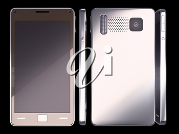 Smart phone: front, side and rear views on black (custom created and rendered)