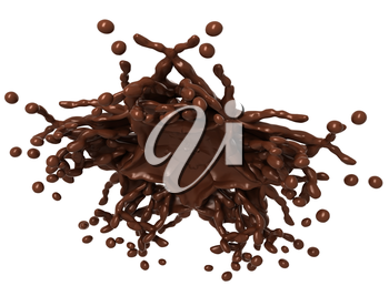 Splashes: Liquid chocolate with drops isolated over white