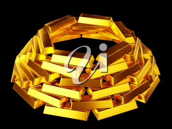 Success: gold bars or bullions isolated over black background