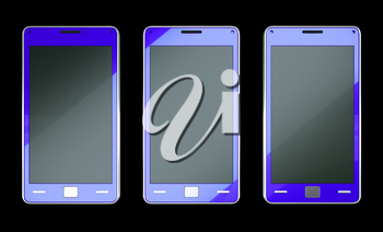 Three smart phones in blue colour over black (custom created and rendered)