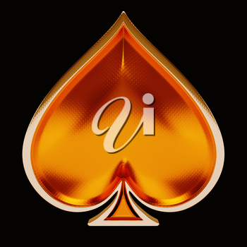Card suits: golden spades over black. Poker and casino