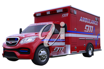 Emergency: ambulance vehicle isolated on white (all custom made and CG rendered)
