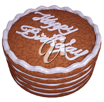 Happy birthday: cake with greeting words isolated on white