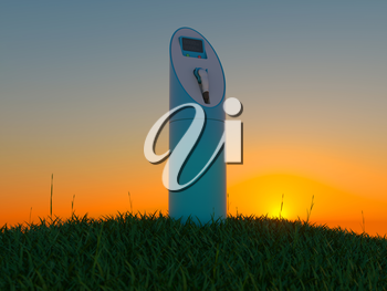 Charging station in the green field at dawn. Ecology and environment