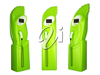 Green transportation: group of charging stations on white