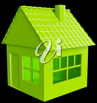 Realty and real assets: green house on black background