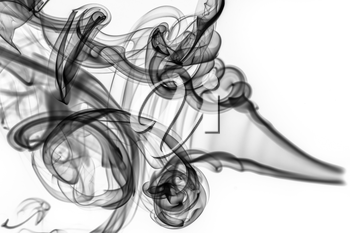 Abstract pattern: black smoke swirls and curves on white