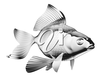 chromium-plated goldfish isolated over white