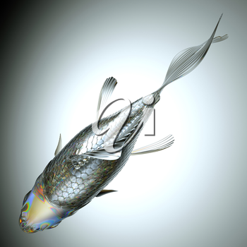 Top view of glass fish over grey background