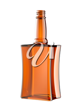 Red glass bottle for cognac or whisky isolated on white