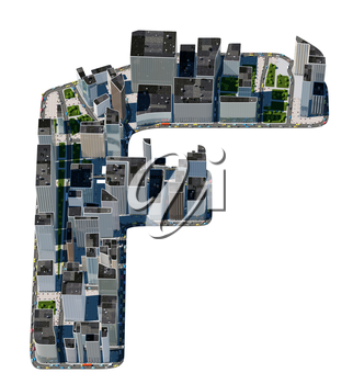 Urban F letter from city font collection. Extreme detail. Custom made and rendered
