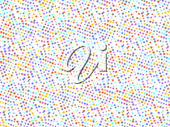 Polka dot background with red yellow grey purple blue circles. Isolated on white