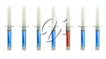 Red syringe among blue ones as right medical choice isolated on white