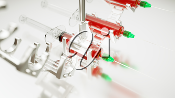 Medical syringe or squirt  production line or conveyor with artistic shallow DOF