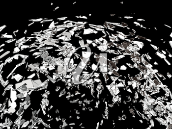 Destructed or broken glass on black isolated high resolution