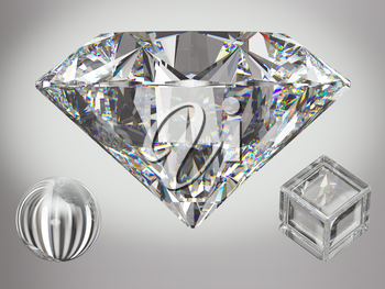 Large diamond with sparkles over gradient gray background