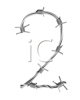 Royalty Free Clipart Image of a Barbed Wire Two